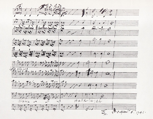 Conclusion of the 'Hallelujah chorus' in Handel's autograph manuscript, 1741