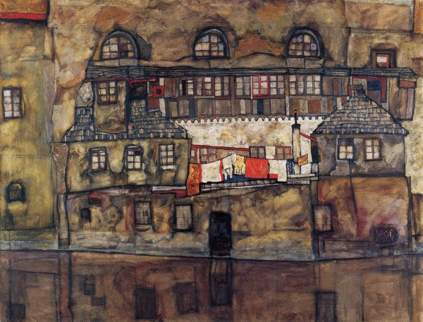 'House on a River (Old House I)' by Egon Schiele, 1915.