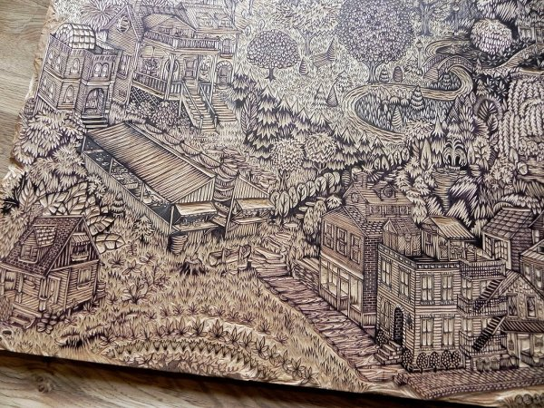 'Community' (woodcut in progress prior to printing) by Tugboat Printshop (Valerie Lueth and Paul Roden), 2014.